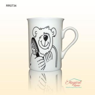 Cana ceramica RR0734 decor simplist urs cu perie