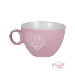 Bol supă, ceramic cu toartă decor bicolor BST-01ROZ