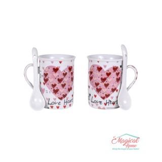 Set cafea ceramic 2 persoane , 2 căni și 2 lingurițe 050A-3