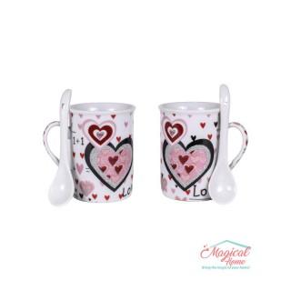 Set cafea ceramic - 2 persoane, 2 căni și 2 lingurițe 050A -4