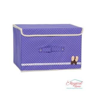 Cutie depozitare pliabilă 36x25x24cm mov cu buline CDC4 - MOV