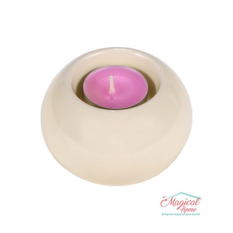 Suport pentru lumânare tip pastilă, din ceramică 618-04
