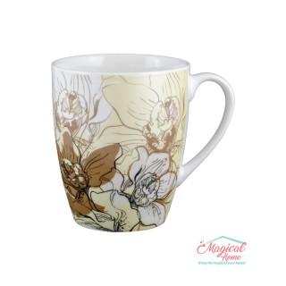 Cană ceramică decor floral CC89-04 bej