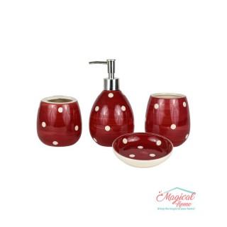 Set ceramică baie cu 4 piese SBB1-02 decor buline