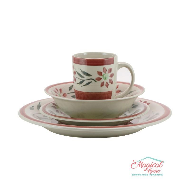 Set cină pentru o persoană cu 4 piese ceramică M001