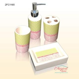 Set ceramic pentru baie 2FC1165 - 4 piese decorate artistic