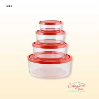 Set 4 caserole din sticlă cu capac, GELObox, Bormioli Rocco