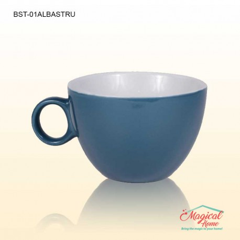 Bol supa ceramic cu toartă decor bicolor BST-01ALBASTRU
