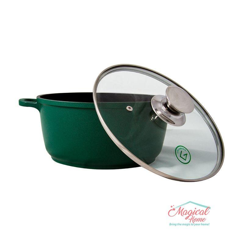 Cratita tip tuci din aluminiu teflonat GR1005 Grunberg verde 28cm