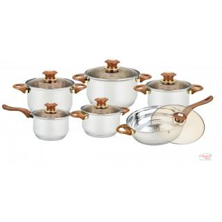 Set oale de gătit, inox, cu capace sticlă, 12 piese GR1504 GRUNBERG