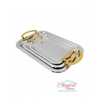 Set 3 tăvi inox cu mânere aurii Grunberg GR314