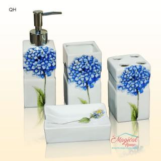 Set ceramic pentru baie QH - 4 piese, decor floral