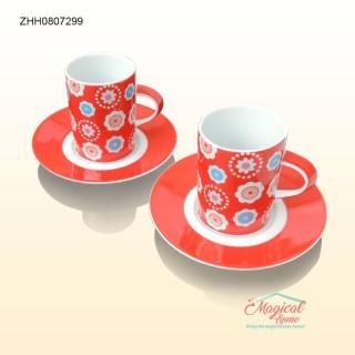Set cafea 2 persoane, din ceramică, decor floral ZHH0807299