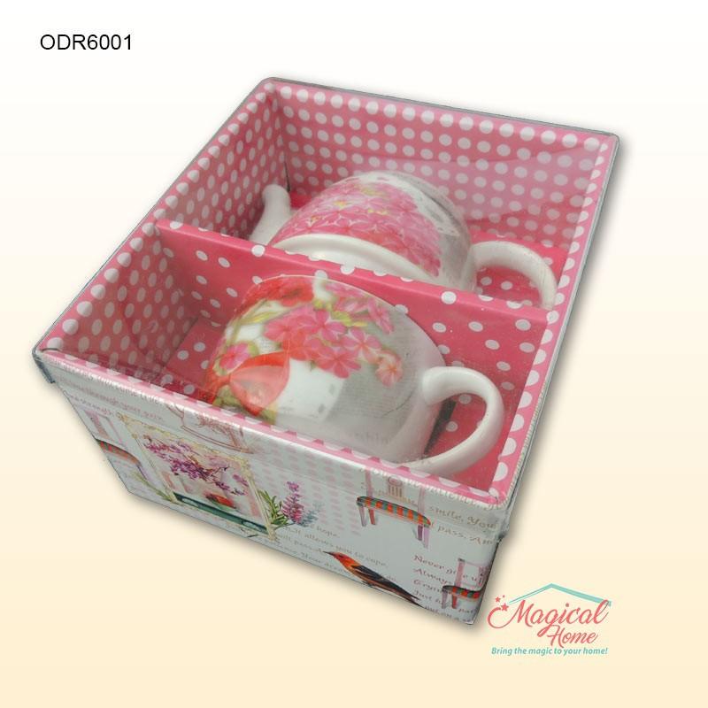 Set ceramic pentru ceai 1 persoana cu 2 piese ODR-6001 mod ambalare